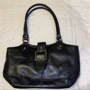 Leather Tignanello black purse tote handbag